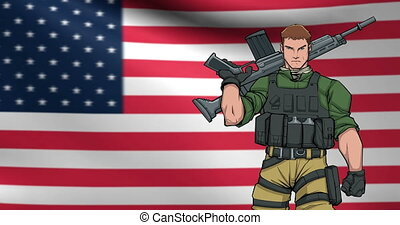 American Soldier Background Animation - Looping animation of...