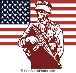 American Soldier holding M16 flag