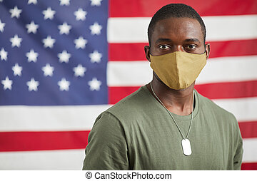 American soldier in mask