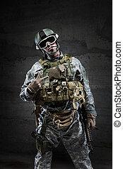 American Soldier in victory gesture