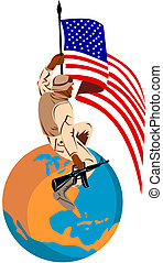 American soldier on an globe flag