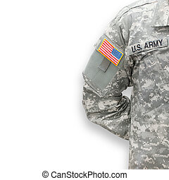 American soldier on white background