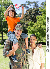 American soldier reunited with family
