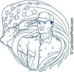American Soldier Salute Flag Ukiyo-e - Ukiyo-e or ukiyo...
