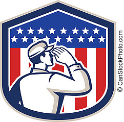 American Soldier Saluting Flag Shield - Illustration of an...
