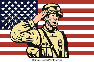 American soldier saluting in front American flag -...