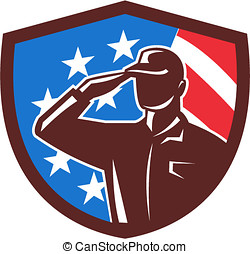 American Soldier Saluting USA Flag Crest Retro