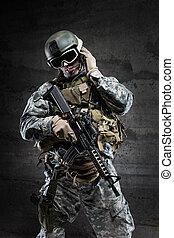 American Soldier talking via radio
