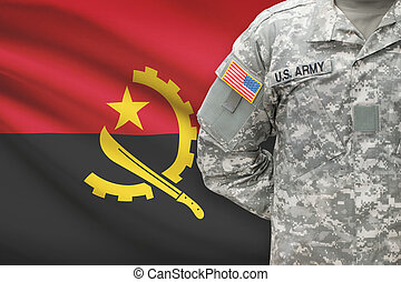 American soldier with flag on background - Angola
