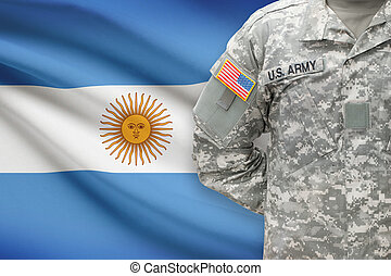American soldier with flag on background - Argentina