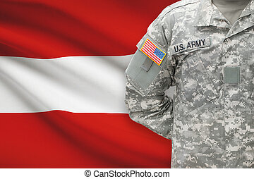 American soldier with flag on background - Austria