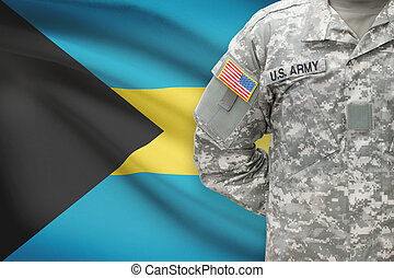 American soldier with flag on background - Bahamas