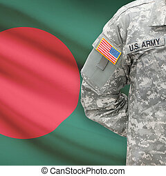 American soldier with flag on background - Bangladesh