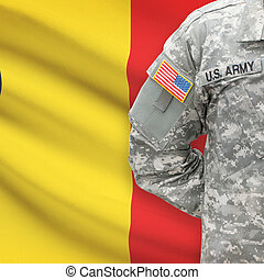 American soldier with flag on background - Belgium