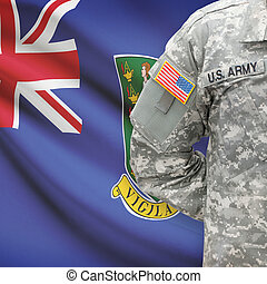 American soldier with flag on background - British Virgin Islands