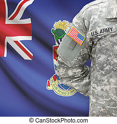 American soldier with flag on background - Cayman Islands