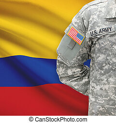 American soldier with flag on background - Colombia