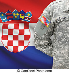 American soldier with flag on background - Croatia