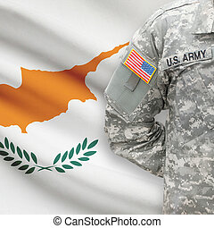American soldier with flag on background - Cyprus