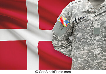 American soldier with flag on background - Denmark