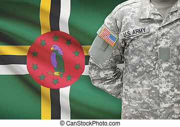 American soldier with flag on background - Dominica