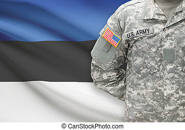 American soldier with flag on background - Estonia