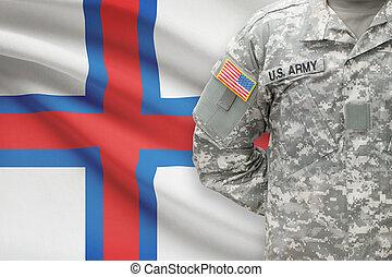 American soldier with flag on background - Faroe Islands