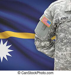 American soldier with flag on background - Nauru