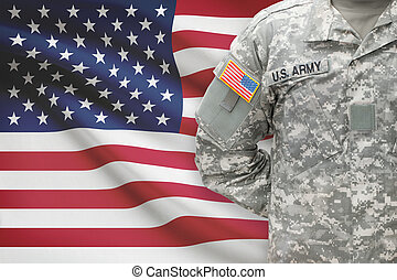 American soldier with flag on background - United States