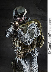 American Soldier with mask and rifle