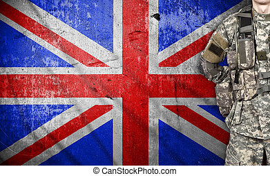 American soldier with UK flag