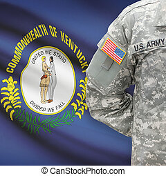 American soldier with US state flag on background - Kentucky