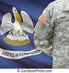 American soldier with US state flag on background - Louisiana