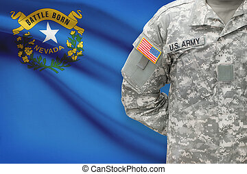 American soldier with US state flag on background - Nevada