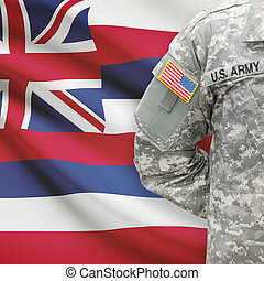 American soldier with US state flag on background - Hawaii