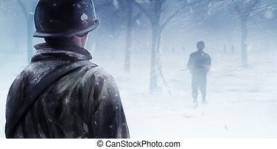 American soldiers in winter forest.