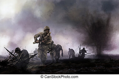 WW2 illustration of american soldiers platoon attacking on a battlefield with explosions and mist background.