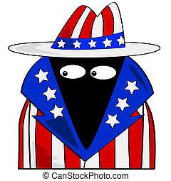 American spy - Cartoon illustration showing a spy dressed in...