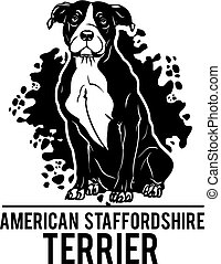 American Staffordshire Terrier - Dog Set Happy Face Paw Puppy Pup Pet Clip Art K-9 Cop Police Logo SVG PNG Clipart Vector Cricut Cut Cutting - vector illustration for t-shirt, logo and template badges in monochrome style