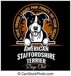 American Staffordshire Terrier - vector illustration for t-shirt, logo and template badges