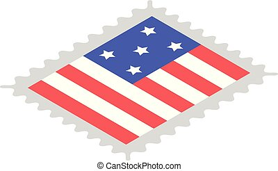 American stamp icon, isometric style