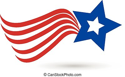 American Star Flag Icon Logo