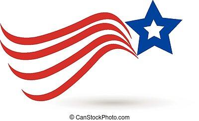 American star flag icon logo