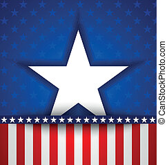 American star on blue background with little stars and...