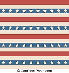 American patriotic stars and stripes seamless pattern in vintage colors.
