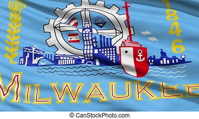 Milwaukee Waving American City Flag Animation