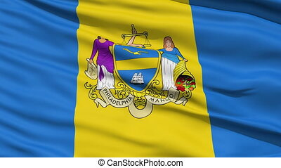 American State City Flag of Philade - Philadelphia Waving...