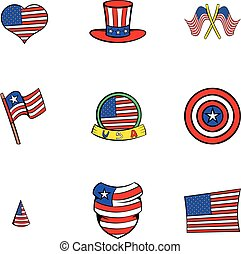American states icons set, cartoon style