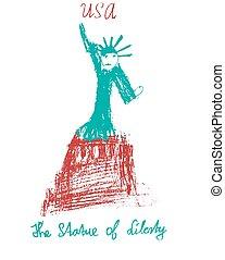 American statue of liberty USA illustration kid style vector illustration