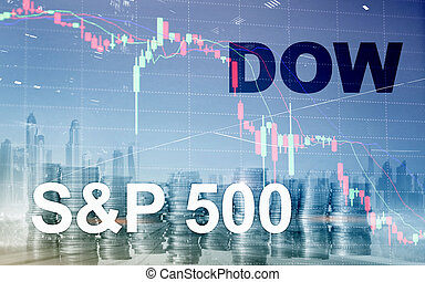 American stock market. Sp500 and Dow Jones. Financial Trading Business concept